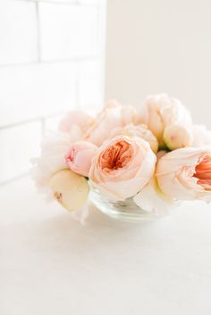 Pink peonies and garden roses