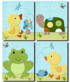 In The Pond ducks nursery bedding artwork art decor PRINTS for baby room  #TiddliwinkDesignsArtPrints