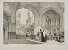 File:Enterance college mother of Shah Sultan Hussein by Eugène Flandin. Pascal Coste, Iran Travel, Paris, Natural History, Impressionist, Middle East, Modern Art, Auction, Architecture