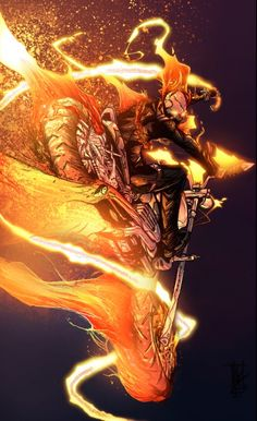 Ghost Rider is the name of several fictional supernatural antiheroes published by Marvel Comics. Marvel Comic Character, Comic Book Characters, Marvel Characters, Comic Books Art, Comic Art, Character Art, Book Art, Ghost Rider Johnny Blaze, Ghost Rider Marvel