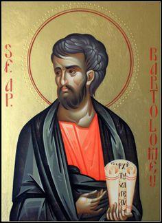 St Bartholemew Paint Icon, Religious Paintings, Byzantine Icons, Orthodox Christianity, Orthodox Icons, Christian Art, Catholic, Illustration, Rosaries