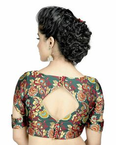 Salwar Studio Green Brocade Readymade Saree Blouse for Blouse Designs High Neck, Best Blouse Designs, Simple Blouse Designs, Stylish Blouse Design, Sari Blouse Designs, Designer Blouse Patterns, Kalamkari Blouse Designs, Blouse Styles, Scarf Styles