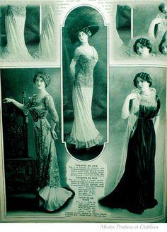 Trois superbes robes du soir pour l'automne 1909 A gauche et au centre, modèles Ney Soeurs et a droite un modèle signé Rouff