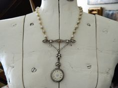 Assemblage Necklace Pocket Watch Antique Sterling by 58Diamond, $180.00