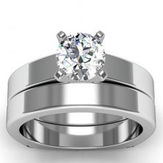 BAND ONLY-Squared Band in 18k White Gold  In stockSKU: C1019BAND-18W