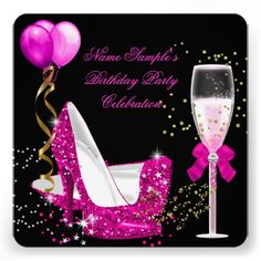 Hot Pink Gold Glitter Black Birthday Party Custom Invite.  Designed by Zizzago  $2.56