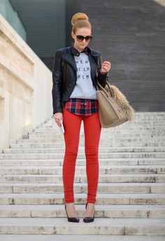 red denim // black leather jacket // plaid // creme de la creme