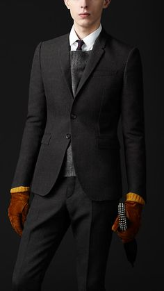 Skinny Fit Compact Canvas Wool Jacket | Burberry