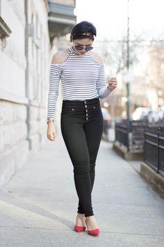 RD's Obsessions: Cold Shoulder Bodysuit, cold shoulder, bodysuit, striped top, high rise skinny jeans, black skinny jeans, black denim, pop of red, kitty heels, parisan style