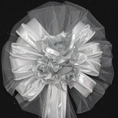 Silver Lame Rose Wedding Pew Bows