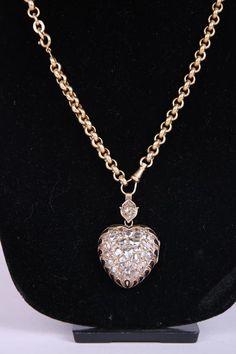 Victorian 14k Rose Cut Diamond & Enamel Flaming Heart Motif Locket w/18k Chain 1850