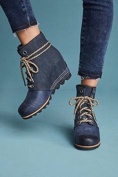 7df8725ea4c love the exaggerated laces on these sorel wedge bootie.