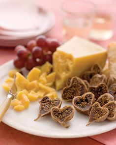 Valentines Heart-Shaped Appetizers.  When dried Calimyrna figs are cut lengthwise they look like little hearts.
