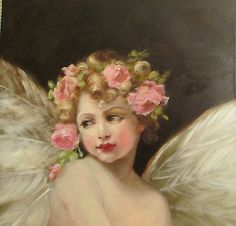 OIL PAINTING VINTAGE STYLE ANTIQUE PINK ROSES CHERUB ANGEL CUPID