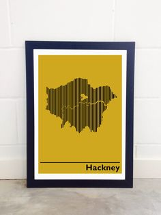 East End Prints - Borough Of Hackney London Map Unframed Print - Yellow Modern Prints, Art Prints, London Map, Coworking Space, Indie, Cabinet, Yellow, Inspiration, Products