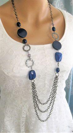 Blu lungo Multi Strand collana lunga con perline collane
