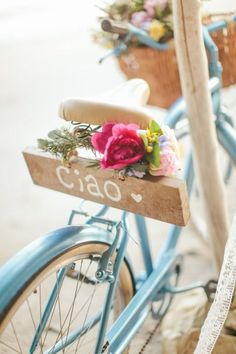 "Fofa e romântica essa bicicleta com a plaquinha ""Ciao"" #bike #bicycle #cycle #vélo #passeio #ride #romance #romântico ❥~•❥AMOR❥~•❥ #amor #love #lovely #adorável #adorable #fofo #cute #breathtaking #amo #paixão #amando #apaixonados #InLove #Loving #sonhos #rêves #dreams ❥(•}{•)❥ #azul #blue #softblue Costa Rica beach elopement: http://www.stylemepretty.com/2014/08/08/colorful-costa-rica-beach-elopement/ 