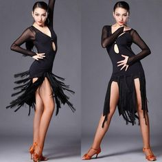 Womens Competition Performance Latin Dance Tassels Dress Rumba Samba Ballroom Sz #Unbranded