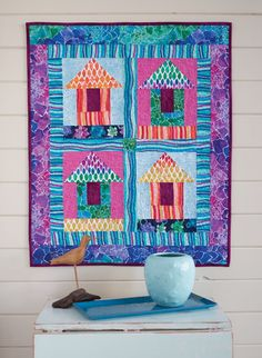 This quilt makes designer Janet Mednick long to be on a Hawaiian beach with all those cabana-like huts. Make it for your home and let the daydreams begin.