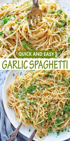 Easy cheesy garlic spaghetti is a quick fuss free recipe perfect any night of the week. This simple pasta is comfort food but fast to prepare with great taste and texture! #spaghettirecipes… More