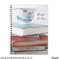 Teacup on book stack book club