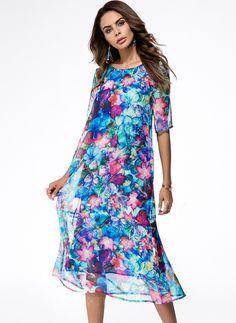 Dresses - $50.75 - Silk Floral Half Sleeve Mid-Calf Elegant Dresses (1955136880)