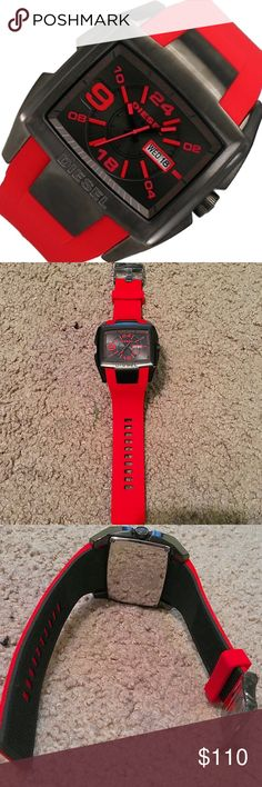 Mens Diesel Watch Mens red and black Diesel silicon Watch. Has red accents and date in face. Flexible watch and very comfortable! Battery is working. Brand new and never used! NWOT. In excellent condition. Original DZ box not included. Authentic. No trades! Diesel Accessories Watches