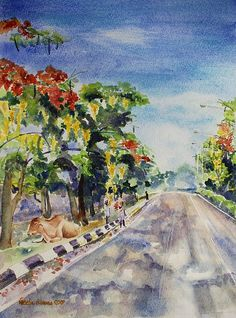 Spring in India #spring #india #watercolor #art #painting #gulmohur #flowers #delonixregia #flamboyant #cassia #tropical #artprint #under$27