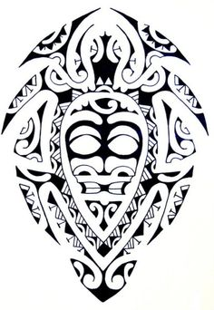 Samoan Art Designs | Maori Turtle with a Tiki God as Carapace filled with pure Polynesian ...