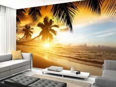 Caribbean Sunset wall mural living room preview