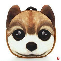 4f6cb655f7f 3D Cartoon Dog Cat Face Pattern Women Backpack Animal Schoolbag