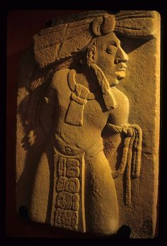 Carved stone depicts a Maya captive. Museo del Sitio of Tonina, Chiapas, Mexico