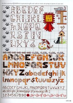 Needle-Works Butterfly: Cats And Kittens Cross Stitch Patterns Cross Stitch Alphabet Patterns, Cat Cross Stitches, Cross Stitch Designs, Cross Stitching, Cross Stitch Embroidery, Embroidery Patterns, Stitch Patterns, Loom Patterns, Cross Stitch Boards