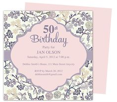Beautiful And Elegant 50th Birthday Party Invitations: Templates Edit With  Word, Publsher, Apple