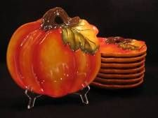 8 Better Homes and Gardens Ceramic Pumpkin Shape Plate Heritage Harvest Autumn