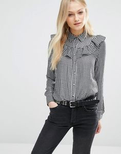 Pull&Bear | Pull&Bear Gingham Ruffle Shirt