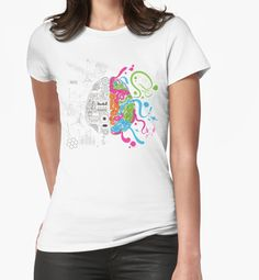 Brain Creativity Illustration by Gordon White | Womens White Creative Brain Chemistry Fitted Tshirt Available in All Sizes @redbubble @redbubblecreate  ---------------------------  #redbubble #sticker #brain #creative #creativity #chemistry #nerd #geek #cute #adorable #women #tshirt #shirt #tee #clothing #apparel  ---------------------------  http://www.redbubble.com/people/blackbox23/works/23716610-creative-brain-chemistry?asc=u&p=t-shirt&rel=carousel&style=womens
