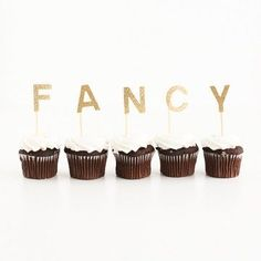 Customize your cupcakes with a sweet little word or phrase! Capital letters A-Z, as well as numbers are available. Letters are cut from glittery gold cards Fancy Cupcakes, Custom Cupcakes, Donuts, Cream Candy, Baby Shower Fun, Shower Party, A Little Party, Candy Apple Red, Animal Party