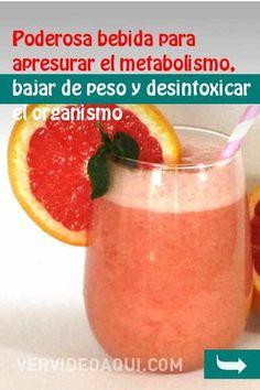 Poderosa bebida para apresurar el metabolismo, bajar de peso y desintoxicar el organismo #bebida #bajardepeso #perderpeso #adelgazar #metabolismo #désintoxication