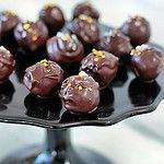 Salted Chocolate Truffles with Gold Hearts by Decorada