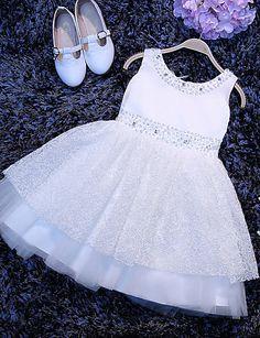 59.99  Corte en A Corta   Mini Vestido de Niña Florista - Tul Sin Mangas  Camiseta con cuello redondo con por 9a3ef957299f9