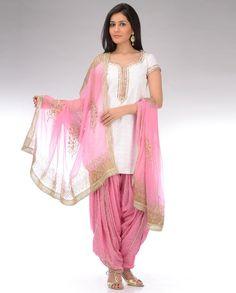 Punjabi suit in pink, and white. Salwar kameez.