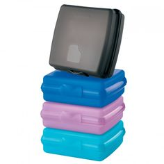 Sandwich Keeper Set: Everyone needs a handful of these fabulous containers for themselves and their family. The Sandwich Keeper is a one-piece wonder. Designed to fit easily into backpack, briefcase or purse, the container's one-piece construction means no seals to keep track of or to get lost. The hinged cover is easy to open with one hand. Around the house or during travel, you'll find dozens of additional storage uses for these handy helpers.Set of fourIn Black/Cool Aqua/Purple D...