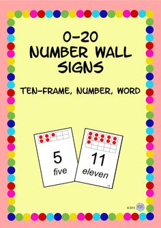 Number Wall Signs with Ten-Frame, Number and Word Posters - Subitize Educational Activities, Learning Activities, Subitizing, Numeracy, Word Poster, Classroom Signs, Information And Communications Technology, Kindergarten Learning, Wall Signs