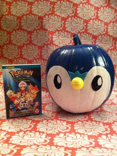 Pumpkin book characters this one was made by Joshua and mommy. Joshy insisted that his pumpkin character would be Piplup from the Pokemon series.