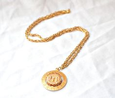 vintage hebrew necklace in gold jewish pendant by BonfireVintage