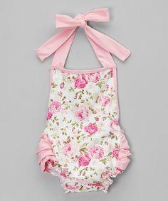 Pink Floral Cotton Ruffle Romper - Infant Liapela.com