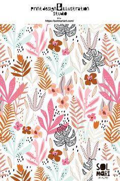 Childish pattern, print design. Surface design for fabric. Floral print illustration. Foliage graphic. Graphic, Curtains, Shower, Bathroom, Illustration, Prints, Design, Insulated Curtains, Rain Shower Heads