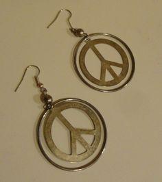 Vintage Peace Hoop Earrings by tennesseehills on Etsy, $7.00
