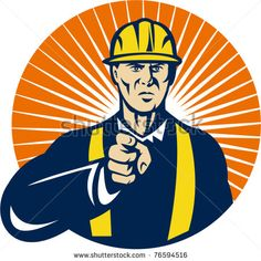 Construction worker pointing a finger at you set inside a circle. vector - stock vector #constructionworker #retro #illustration